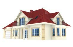 3d huis dat op witte achtergrond wordt geïsoleerdg stock illustratie