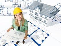 3d huis en ingenieur Royalty-vrije Stock Afbeeldingen