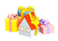 3d huis - gift, die een heldere band verpakt Royalty-vrije Stock Afbeelding