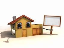 3D huis met een banner Stock Fotografie