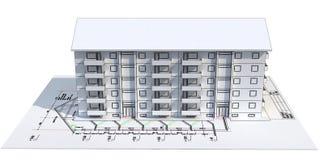 3d huis op blauwdruk stock illustratie