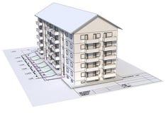 3d huis op blauwdruk royalty-vrije illustratie