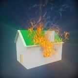 3d huis op brand royalty-vrije illustratie