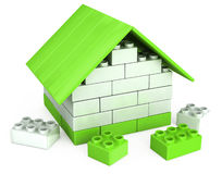 3D huis van de plastic stukken van het spel van kinderen Stock Afbeelding