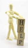 3D Hulp van de Bouw van de Mens uit Blokken Royalty-vrije Stock Fotografie