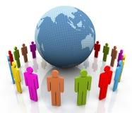 3d human around the globe. Royalty Free Stock Image