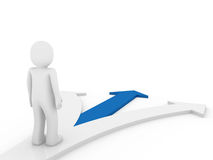 3d human arrow direction way blue. Isolated white background Royalty Free Stock Photography