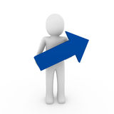 3d human arrow success blue Royalty Free Stock Photos