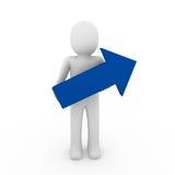 3d human arrow success blue. High business Royalty Free Stock Photos