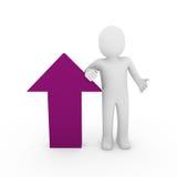3d human arrow success pink purple. 3d human arrow success purple high business Stock Image