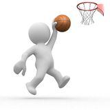 3d human basketball. Player trying to score Royalty Free Stock Photos