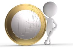 3d human with big coin. On white background Royalty Free Illustration