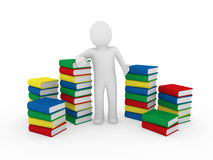 3d human books. Paper learn read red blue Stock Photos