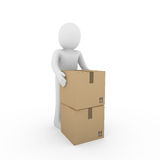 3d human carton shipping Stock Photo