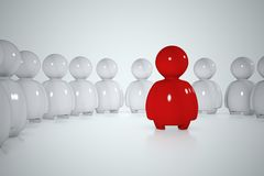 3d human at the center of a circle. A red stylized human surrounded by a lot of white men Vector Illustration