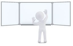3d human with chalk writing on the whiteboard Stock Photos
