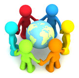 3D human character. Six 3D human character hollding hands around the planet earth Stock Image