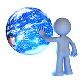 3D human character. Touching planet earth isolated on white Stock Images