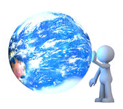 3D human character. Touching planet earth isolated on white Royalty Free Stock Photography