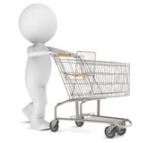 3d human character with an empty Shopping Trolley. Isolated Royalty Free Stock Photo