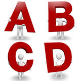 3D Human charcter holding red letter A, B, C, D Royalty Free Stock Photo