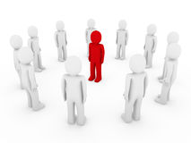 3d human circle red. White business group teamwork Royalty Free Stock Photo