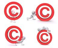 3D Human Copyright. A 3D human is carrying, pushing a big red copyright symbol Stock Photos