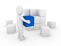 3d human cube. Box blue white success business isolated Stock Image