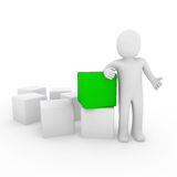 3d human cube green. 3d human cube box green white business Stock Photography