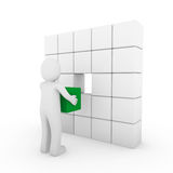 3d human cube green white. Success business people isolated Royalty Free Stock Photo