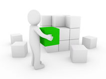 3d human cube green white Royalty Free Stock Photography