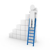 3d human cube ladder blue. White success business isolated Royalty Free Stock Photo