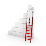 3d human cube ladder red Stock Photo