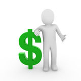 3d human dollar symbol green Royalty Free Stock Photo
