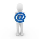 3d human email symbol blue. Isolated white background Royalty Free Stock Photography