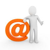 3d human email symbol orange Royalty Free Stock Photo