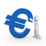 3d human euro. Symbol blue business money Stock Illustration