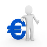 3d human euro. Symbol blue business money white Stock Photo