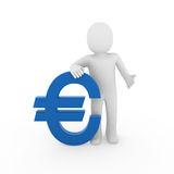 3d human euro. Finance blue success symbol business Stock Photos