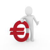 3d human euro. Finance red success symbol business Royalty Free Stock Photos