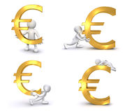 3D Human Euro. A 3D human is carrying, pushing a big red Euro symbol Royalty Free Stock Photography