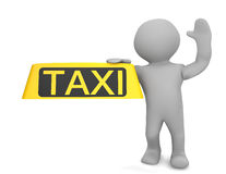 3d human figure holding taxi sign Stock Photos