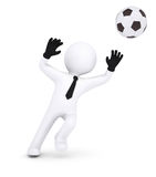 3d human with gloves goalkeeper catches a football Royalty Free Stock Photos