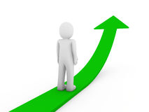 3d human green arrow growth. Success business isolated Royalty Free Stock Photography
