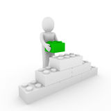 3d human green cube stone Stock Images