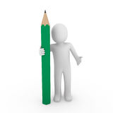 3d human green pencil. 3d human pencil pen write green business draw Royalty Free Stock Photography