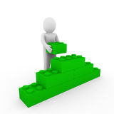 3d human green wall stone. 3d human green stone cube wall puzzle business Royalty Free Stock Photography