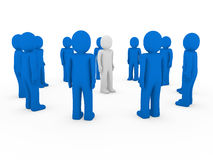 3d human group circle blue Stock Photo