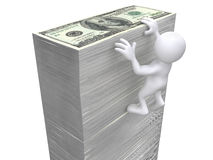 3D Human hanging on money wall Royalty Free Stock Photography