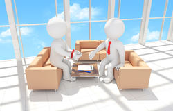 3d human with his hands tied signing a contract Stock Photo